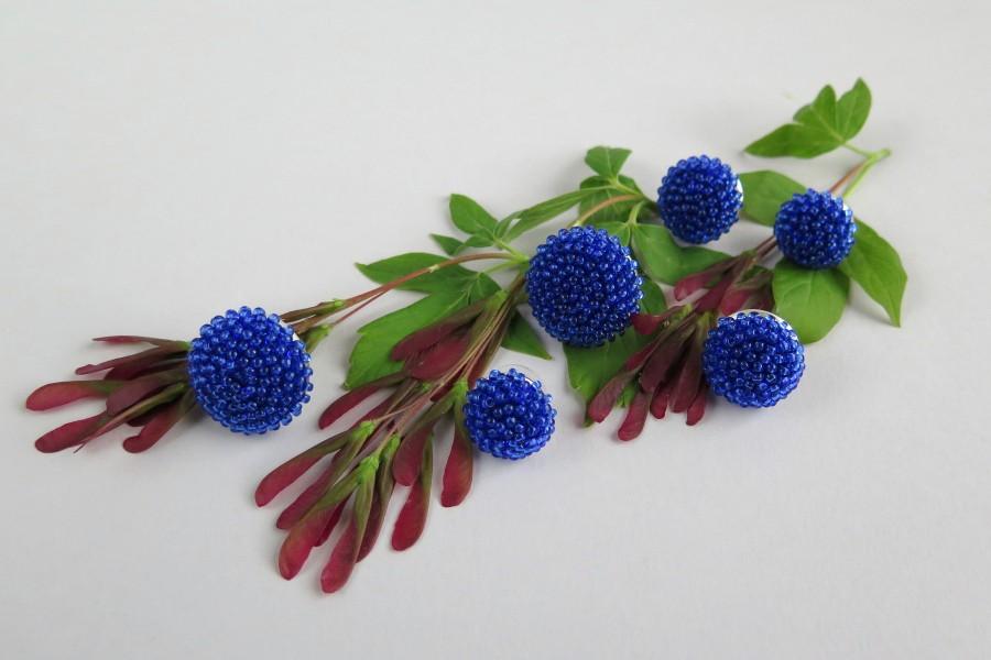 """Ryškiai mėlyni apvalūs auskarai """"Gervuogėlės"""""""