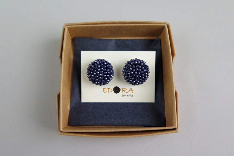 """Metalizuotos mėlynos apvalūs auskarai """"Gervuogėlės"""""""